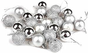 GOOTRADES Set of 24 Mini Shatterproof Christmas Balls Tree Ornaments Party Decoration, 3cm/1.18'' (Silver)