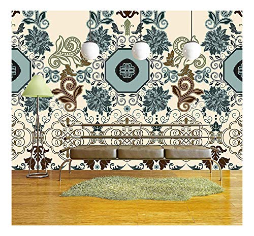 (wall26 - Bright Colorful Striped Floral Pattern. Border - Removable Wall Mural | Self-Adhesive Large Wallpaper - 100x144 inches)