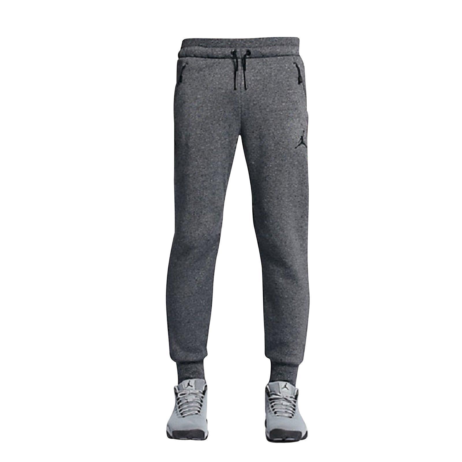 Nike Mens Jordan Icon Fleece Cuffed Sweatpants Dark Grey Black 809472-010 Size Small by Jordan