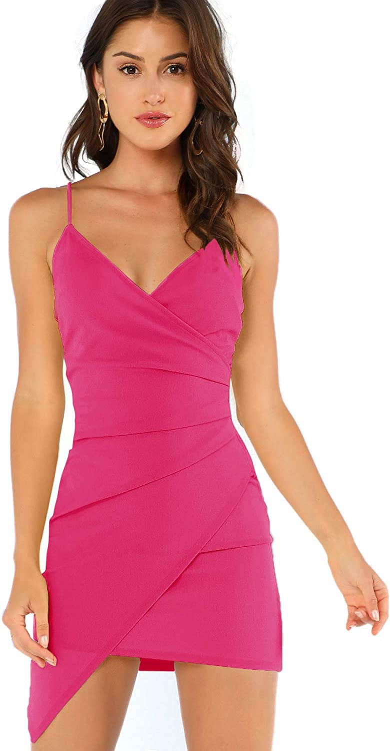 Verdusa Women's Sexy Ruched Side Asymmetrical V Neck Bodycon Cami Dress