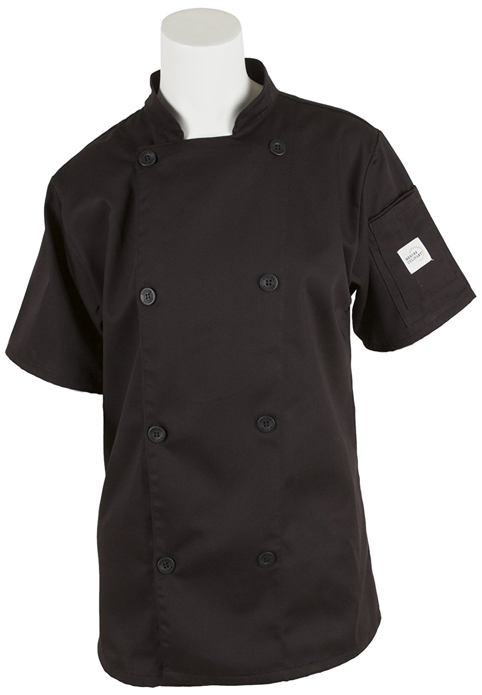 Mercer Culinary M61032BK3X Genesis Women's Short Sleeve Chef Jacket with Traditional Buttons, 3X-Large, Black by Mercer Culinary