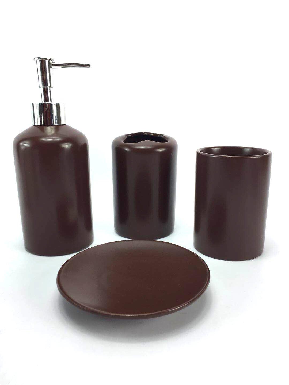 WPM 4 Piece Ceramic Bath Accessory Set | Includes Bathroom Designer Soap or Lotion Dispenser w/Toothbrush Holder, Tumbler, Soap Dish Choose from Purple, Black, Brown, Navy or Burgundy (Black)