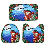 WinnerEco Non-slip Mats,3pcs Christmas Printing Toilet Seat Cover Bathroom Mat Xmas Decor (Snowman)