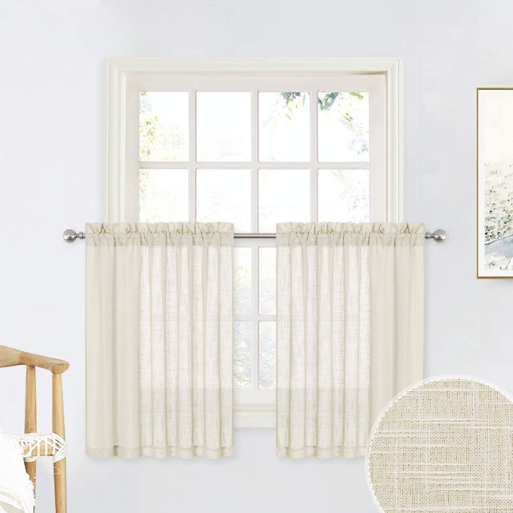1 Pair Dove Grey 36 x 36 inches Long RYB HOME Linen Textured Wave Pattern Sheer Valance Curtains Contemporary Semi Voile Tier and Swag Set for Kitchen Cafe Bedroom