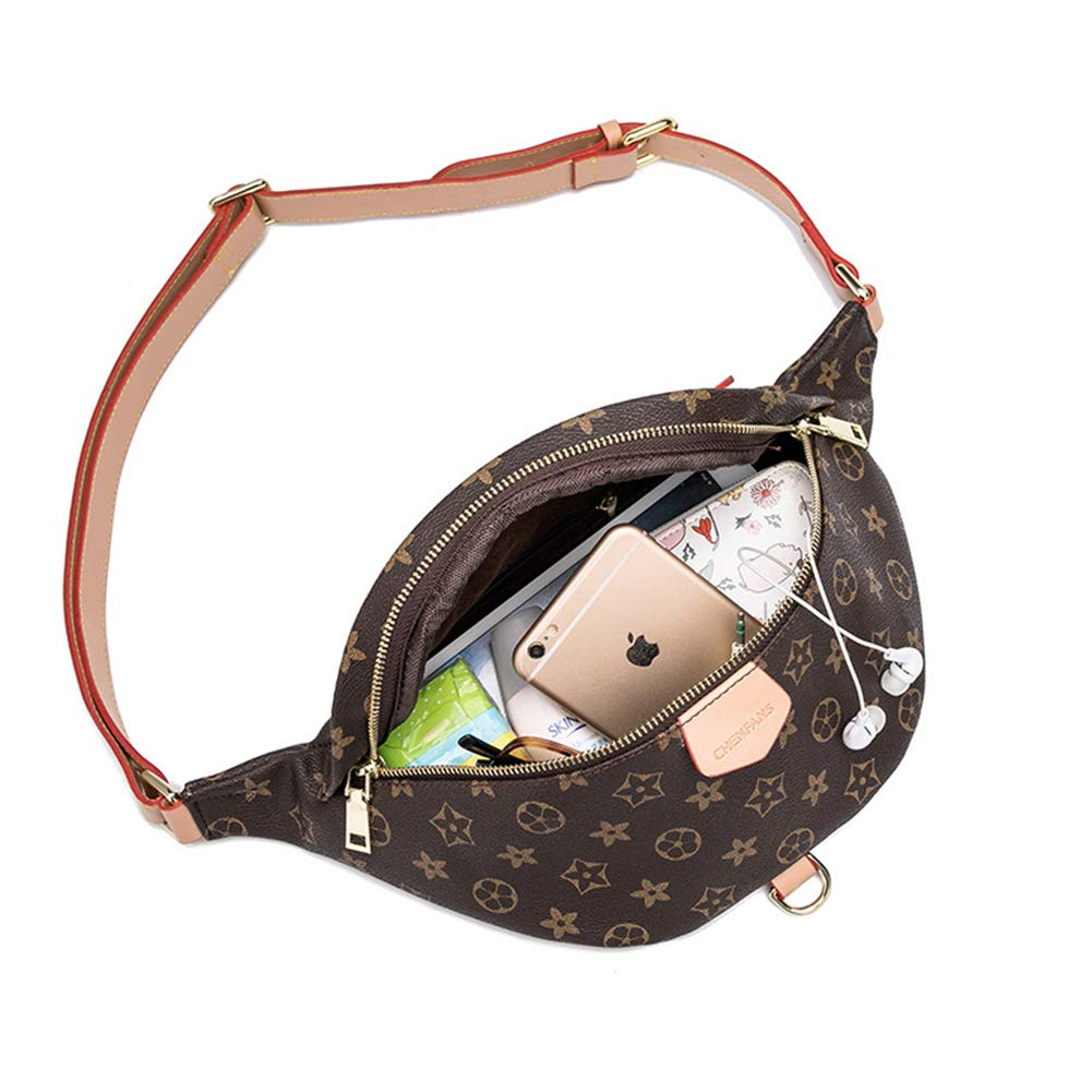 DeLamode Small Waist packs Leather Floral Cross-Body Chest Bags Blue