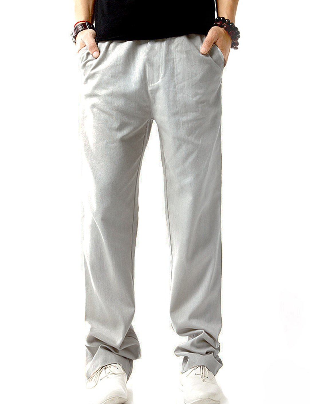 SIR7 Men's Linen Casual Lightweight Drawstrintg Elastic Waist Summer Beach Pants Light Grey 2L by SIR7 (Image #2)