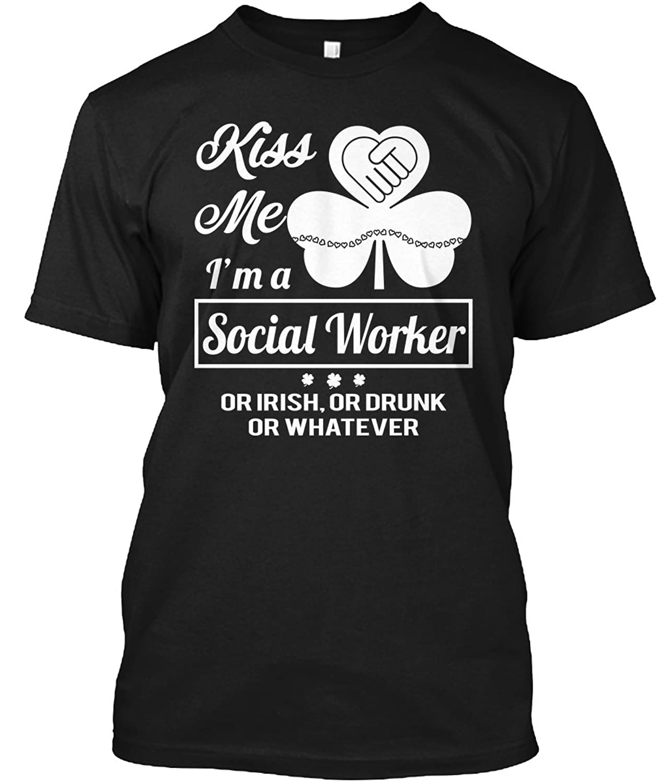 Teespring Unisex Kiss Me Im A Social Worker Or Irish Hanes Tagless T-Shirt