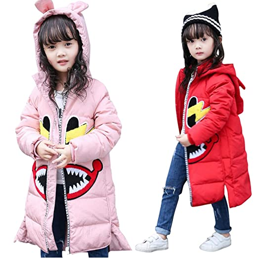 db865b8bd LLQ Pluma Ropa para Niña Invierno Pluma Chaqueta Larga Sección Chica Abajo  Abrigo Niña Encapuchado Abajo Ropa Mangas Largas (Rosa)  Amazon.es  Ropa y  ...