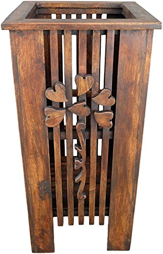 Design by UnseenThailand Antique Handmade Teak Wooden Umbrella Stand Umbrella Holder Rack for Home Office Teak Wood Basket
