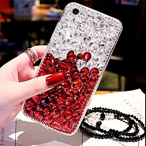 Funda para iPhone 8Plus, Diseño de Diamantes de Lujo CLTPY iPhone 7Plus Cubierta de Silicona Glitter Bling Moda Delgada Caja Protectora para Apple iPhone 7Plus/8Plus + 1 x Lápiz Gratis - Negro Blanco Blanco Rojo