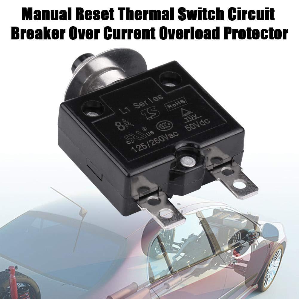 KIMISS Disjoncteur Thermique de Commutateur Manuel de Remise sur le Protecteur de Surcharge Actuel 8A