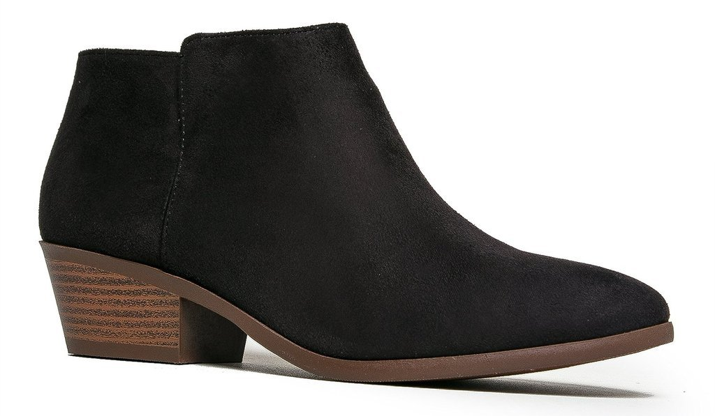 Soda Women's Round Toe Faux Suede Stacked Heel Western Ankle Bootie, Black, 8M US
