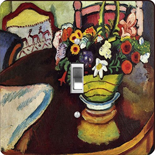 Rikki Knight RK-LSPS-3199 August Macke Art Still Life With Venison And Ostrich Pillow Design Light Switch Plate Cover