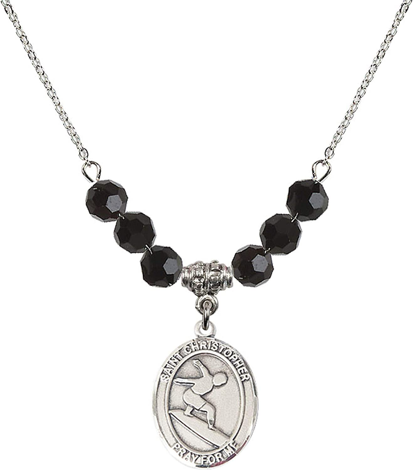 Bonyak Jewelry 18 Inch Rhodium Plated Necklace w// 6mm Jet Birth Month Stone Beads and Saint Christopher//Surfing Charm
