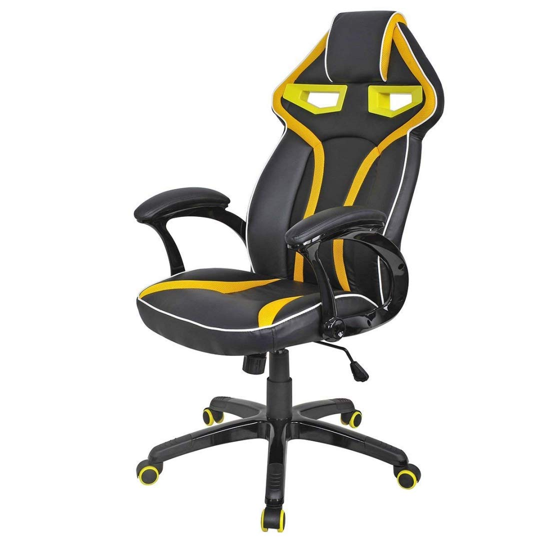 Modern Racing Car Style High Back Gaming Chair Comfortable Bucket Seat Adjustable Armrest Desk Task Thick Padded PU Leather Upholstery Posture Support Home Office Furniture - (1) Yellow #2122 by KLS14