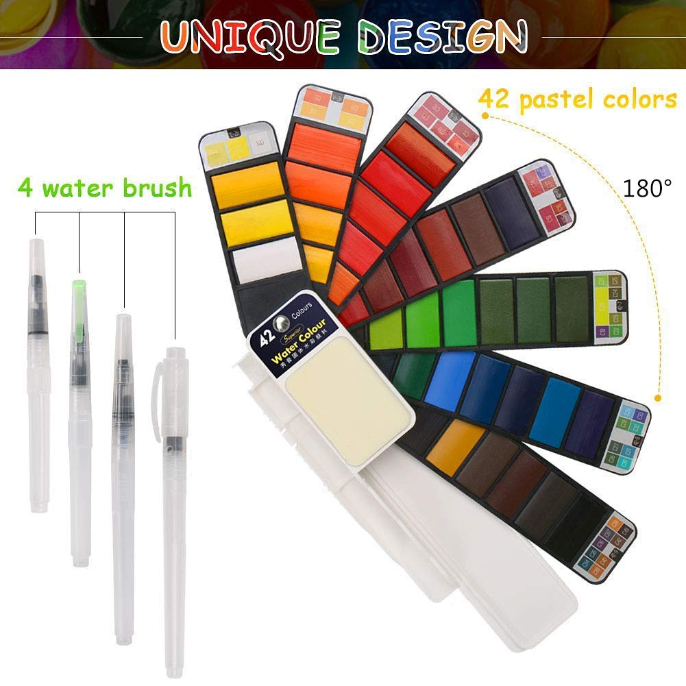 BBLIKE Watercolor Paint Set, 42 Assorted Colors with 4 Variety Brushes, Portable Travel Pocket Watercolor Field Sketch Set Watercolor Pigment, Perfect for Artist Students Draw Painting Outdoor