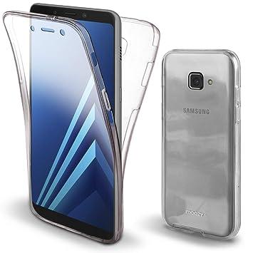 Moozy Funda 360 Grados para Samsung Galaxy A7 2017 Transparente Silicona - Full Body Case Carcasa Protectora Cuerpo Completo