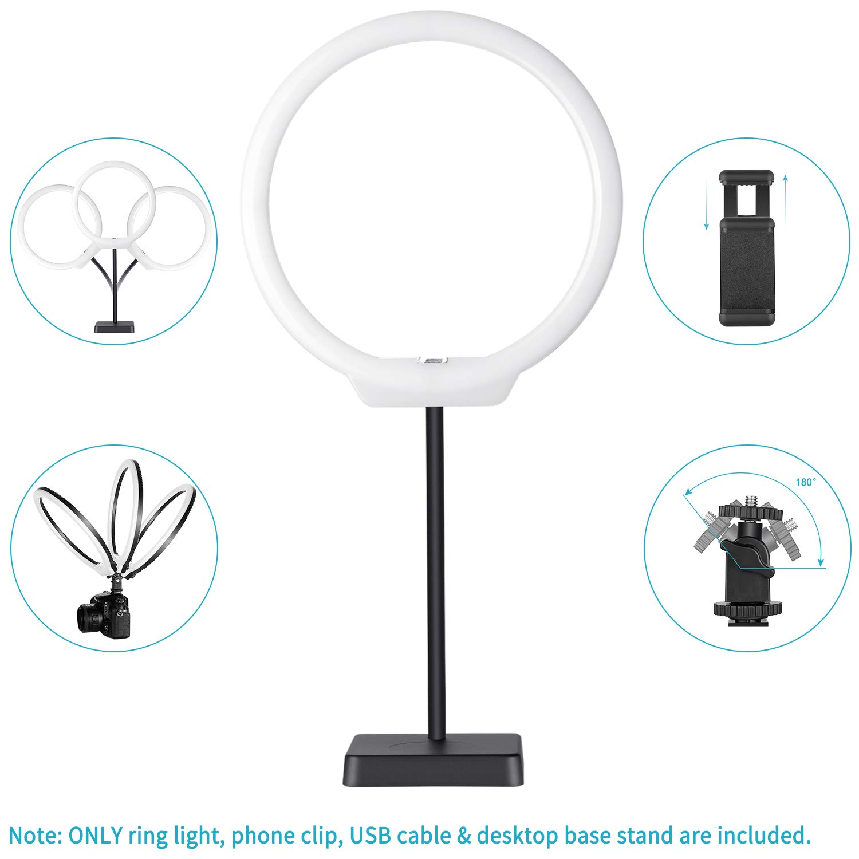 Neewer 19,5cm Mini Anillo LED Regulable con Brazo Flexible,Abrazadera de Escritorio,Espejo 9cm,Clip para Tel/éfono,Mini Tr/ípode para Maquillaje Selfie Retrato Fotograf/ía Video