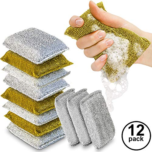Kitchen Scrubbing Sponges - Heavy Duty Non-Scratch Scrubbing Cleaner Sponges In 2 Colors - Multi-Surface Non-Metal Dish Scouring Scrubbers For Fast Cleaning - With Antibacterial Technology By (12)