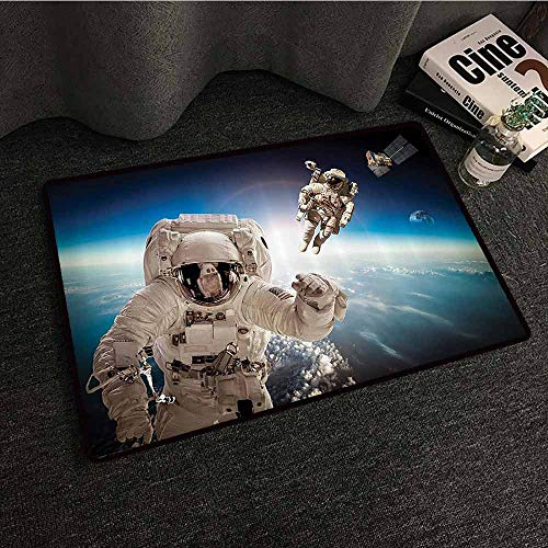 Outer Space Decor Outdoor Doormat Cosmonaut Crew in The Universe Astronomy Atmosphere Astral Journey Image Quick and Easy to Clean W31 xL47 Blue Beige ()