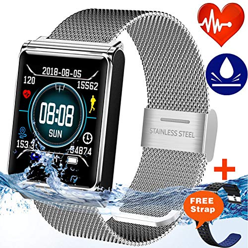 Healthy Expert - IP67 Waterproof Smart Watch for Men Women Fitness Tracker with Heart Rate Blood Pressure Monitor Calories Pedometer Fashion Wristband Sport Swim Steps Counter Wristband Android/iOS Mother's Day Gift
