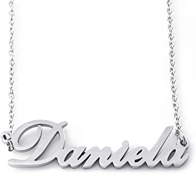 DemiJewelry Name Necklace Personalized Sterling Silver Heart Necklaces for Women Girls