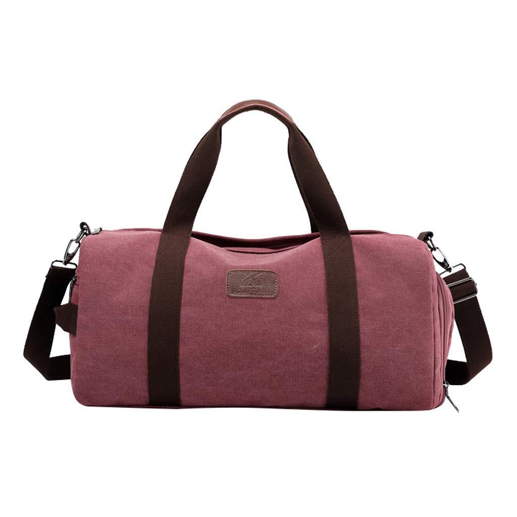 Dermanony Unisex Large Capacity Shoulder Bag Fashion Multi-Function Canvas Luggage Bag Sport Shoulder Bag Travel Bag Purple by Dermanony _Bags
