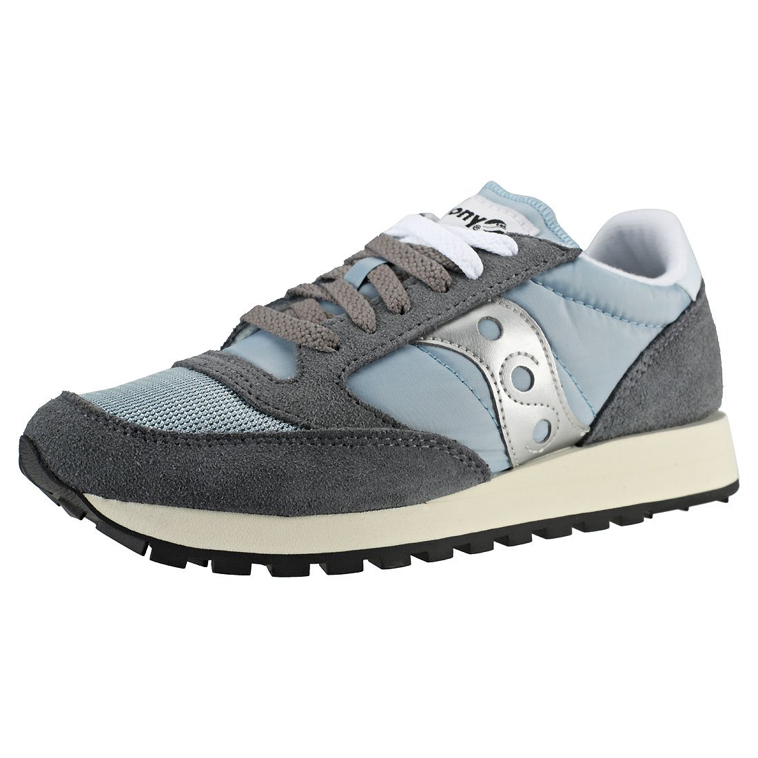 Saucony Originals Women's Jazz Vintage Running Shoe B07955LLZ1 8.5 M US|Grey/Blue/White