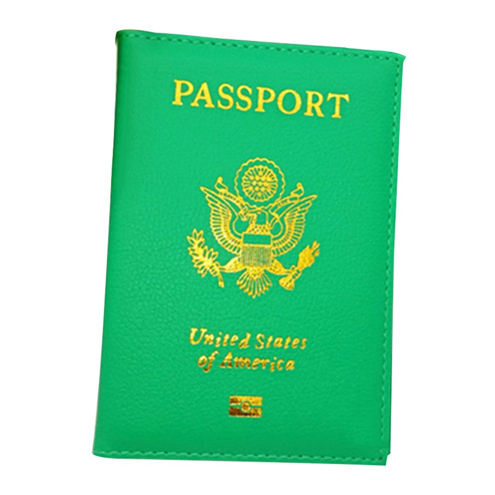 Fashion Faux Leather Travel USA Passport ID Card Holder Cover Case Organizer - Green