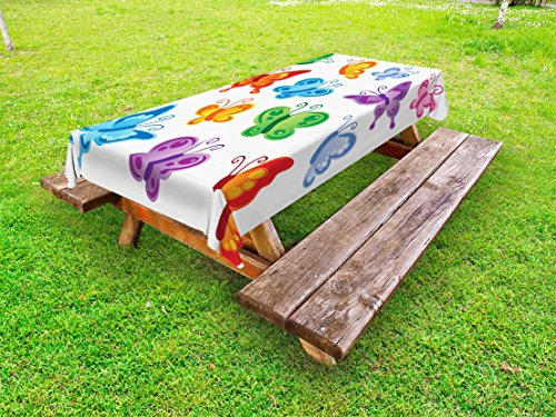 Ambesonne Butterfly Outdoor Tablecloth, Colorful Butterfly Collection Print Cute Ornate Winged Animal Love Graphic Print, Decorative Washable Picnic Table Cloth, 58 X 120 Inches, Multicolor (Graphic Winged)