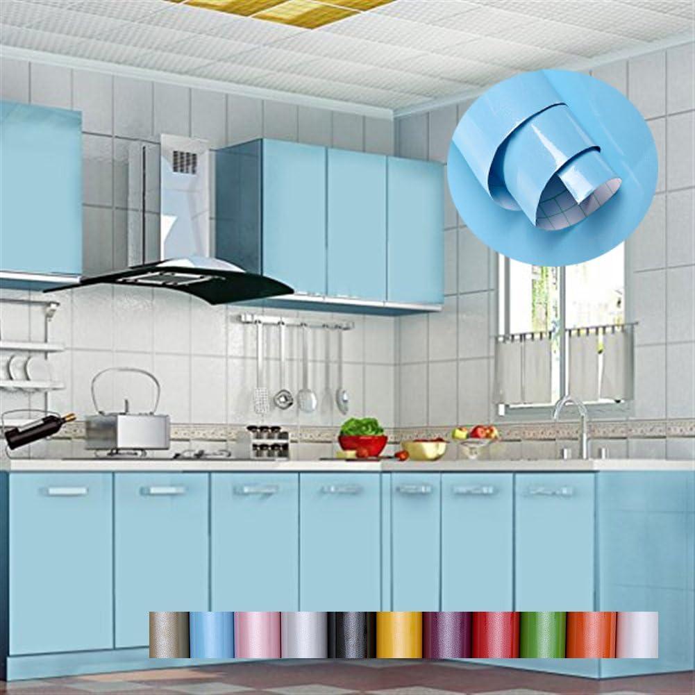 Liveinu - Papel pintado autoadhesivo de color liso para armario de cocina de PVC, impermeable, para pared, para decoración de dormitorio, salón o muebles, azul, ISA-GXSM-1182-7-10: Amazon.es: Bricolaje y herramientas