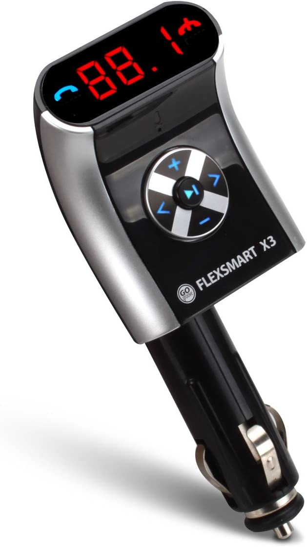 Audio Playback and USB Charging Tablets MP3 Players and more Devices GOgroove FlexSMART X3 Mini Bluetooth FM Transmitter with Hands Free Calling Compatible with Android