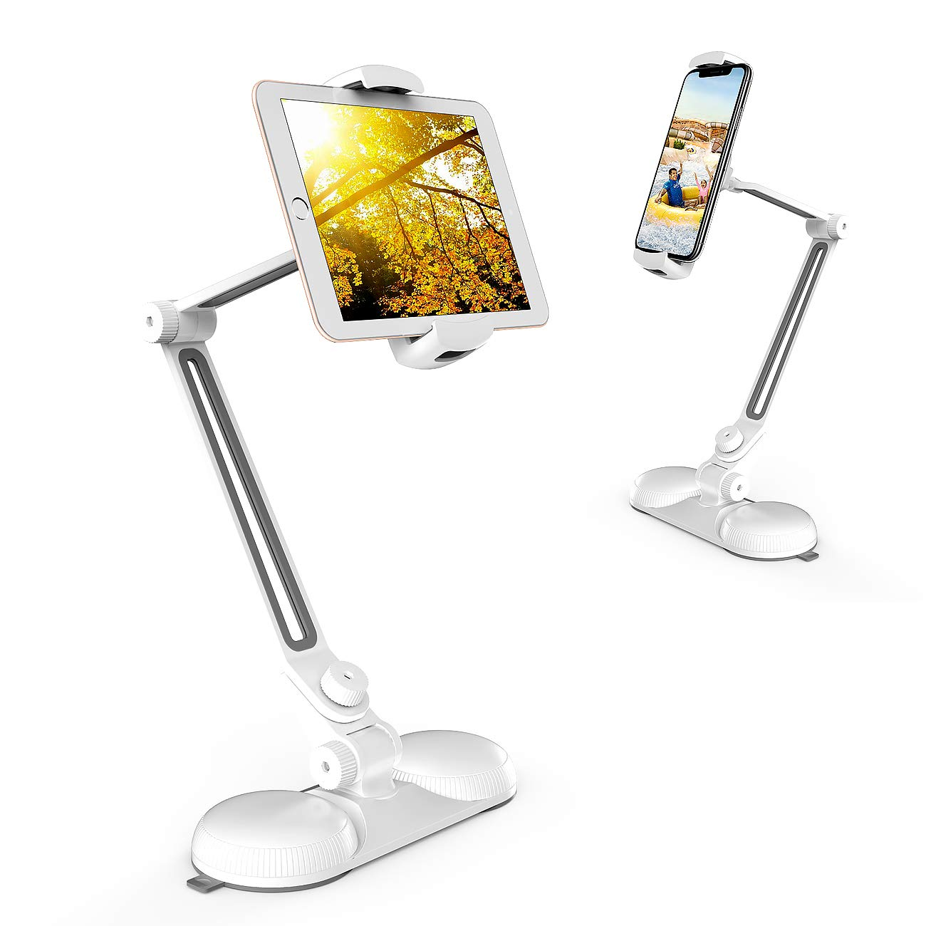 Tablet Stand, Adjustable Compatible iPad Stand, Universal 360° Swivel Collapsible Cell Phone Stand Holder with Suction Cup for Table, Glass, Kitchen &Office (fit for Width in 4.5-7.5'')