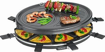 Raclette Grill Avec 8 Poêlons Anti Plancha Grill Barbecue Grill électrique  Pour 8 Personnes (