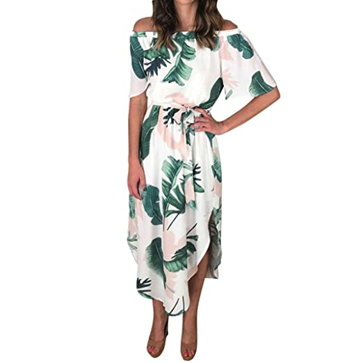 449f3b9446b1 Image Unavailable. Image not available for. Color  Women Off Shoulder  Leaves Short Mini Dress Ladies Beach Party Dresses (XL