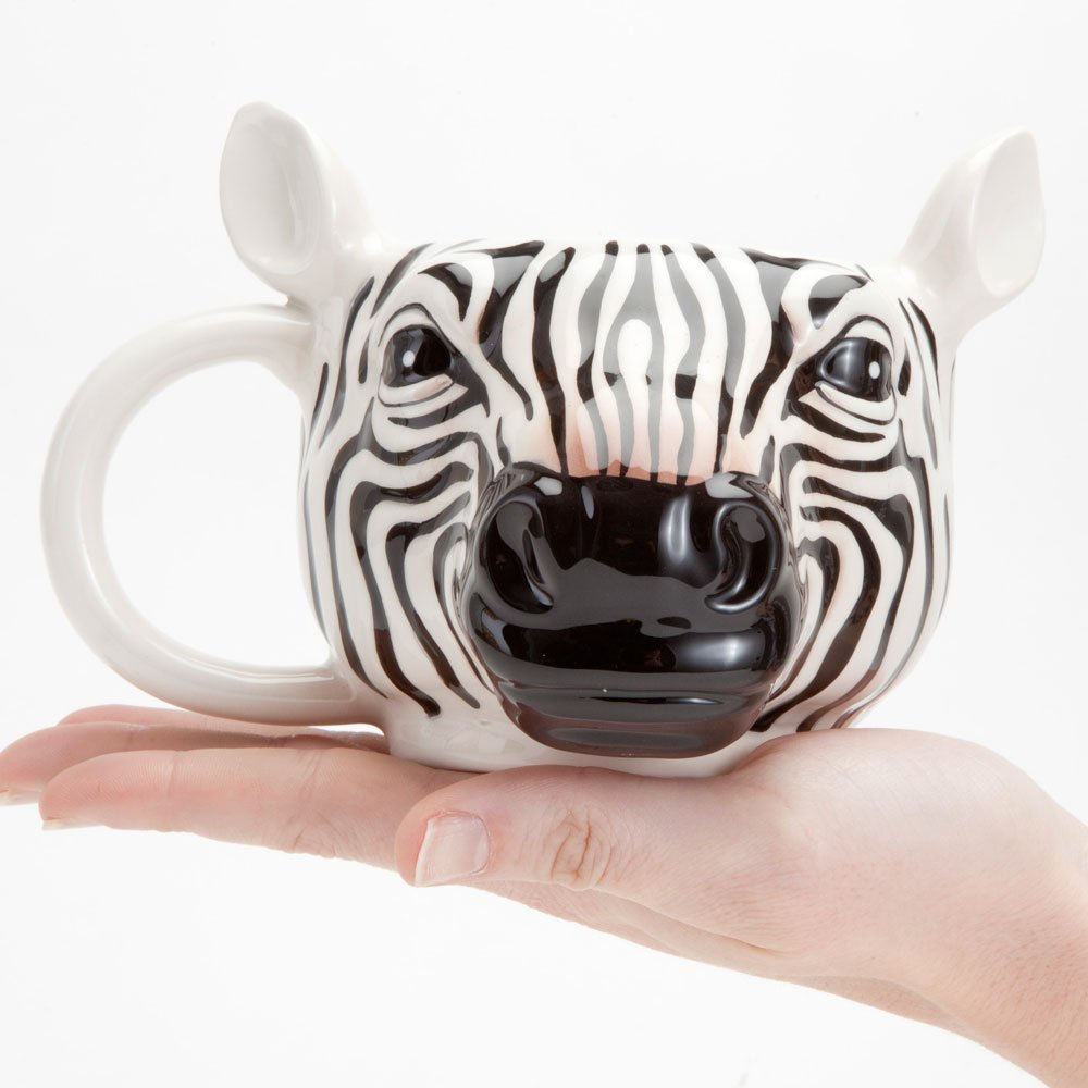 Bits and Pieces - 14 Ounce Zebra Striped Coffee Mug - Porcelain Animal Shaped Tea Cup by Bits and Pieces (Image #2)