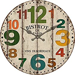 Grazing 12 Arabic Numerals Colorful Numbers Design Shabby Chic Style Wooden Decorative Round Wall Clock (Colorful number)