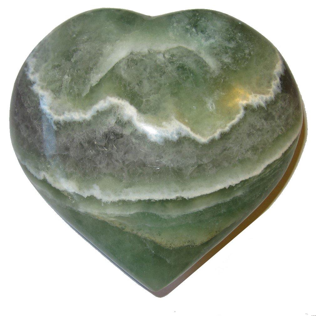 Fluorite Heart 51 Big Shiny Green Purple Crystal White Lace Love Serenity Healing Stone 4''