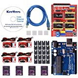KeeYees Professional 3D Printer CNC Kit with Tutorial for Arduino, CNC Shield V3 w/Jumpers + UNO R3 Board + 4Pcs RAMPS 1.4 Mechanical Switch Endstop & DRV8825 GRBL Stepper Motor Driver Heat Sink