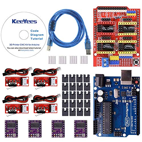 KeeYees Professional 3D Printer CNC Kit with Tutorial for Arduino, CNC Shield V3 w/Jumpers + UNO R3 Board + 4Pcs RAMPS 1.4 Mechanical Switch Endstop & DRV8825 GRBL Stepper Motor Driver Heat Sink (Best Arduino Motor Shield)