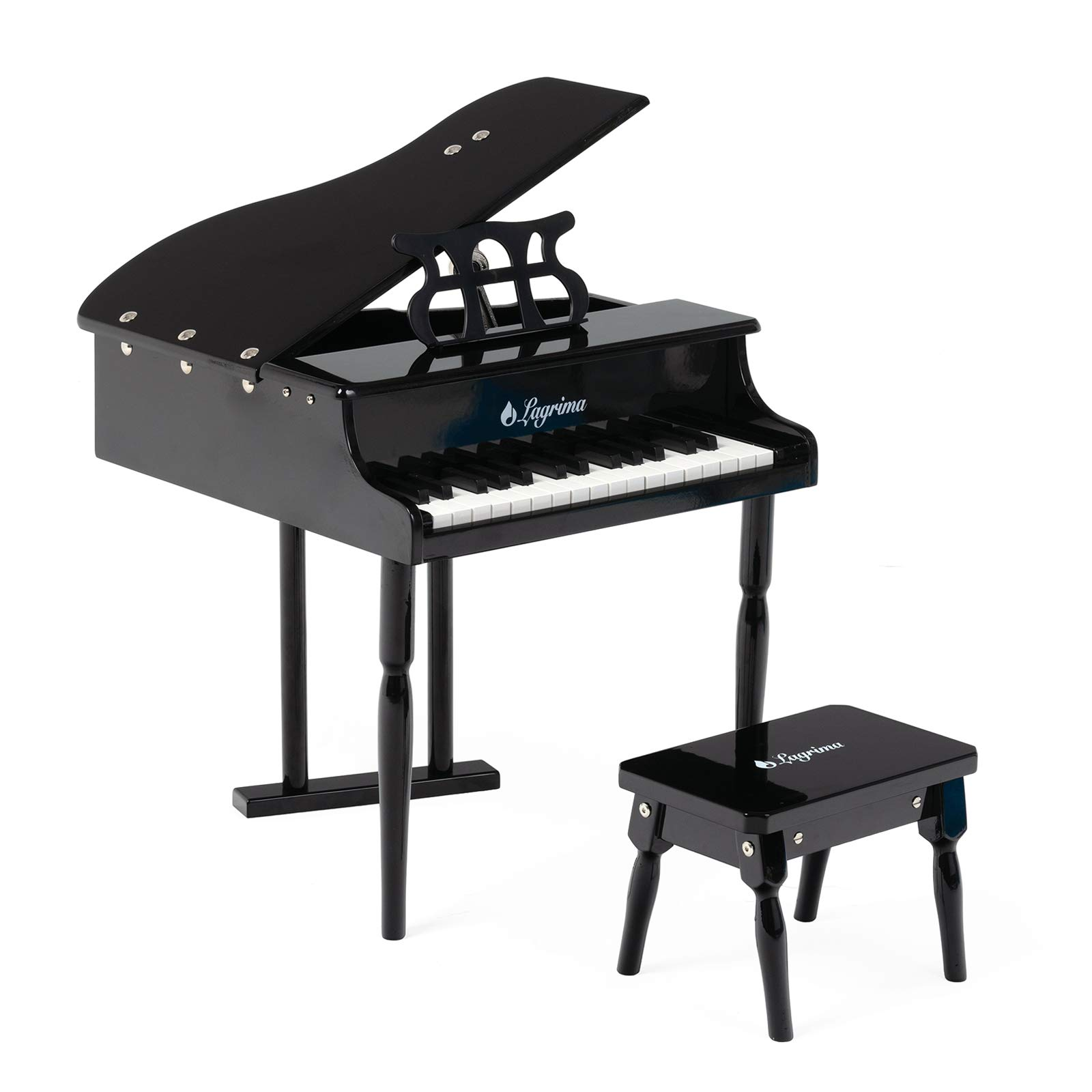LAGRIMA Classical Kids Piano, 30 Keys Wood Mini Baby Grand Piano w/ Bench, Mini Musical Toy for Child (Black) by LAGRIMA