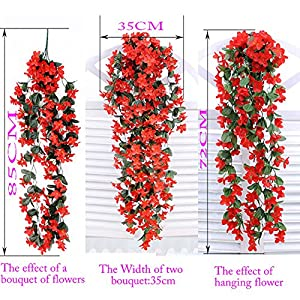 1 Bunch of Artificial Violet Hanging Garland Vine Flower Trailing Bracket Plant By MEXUD (Blue) 4
