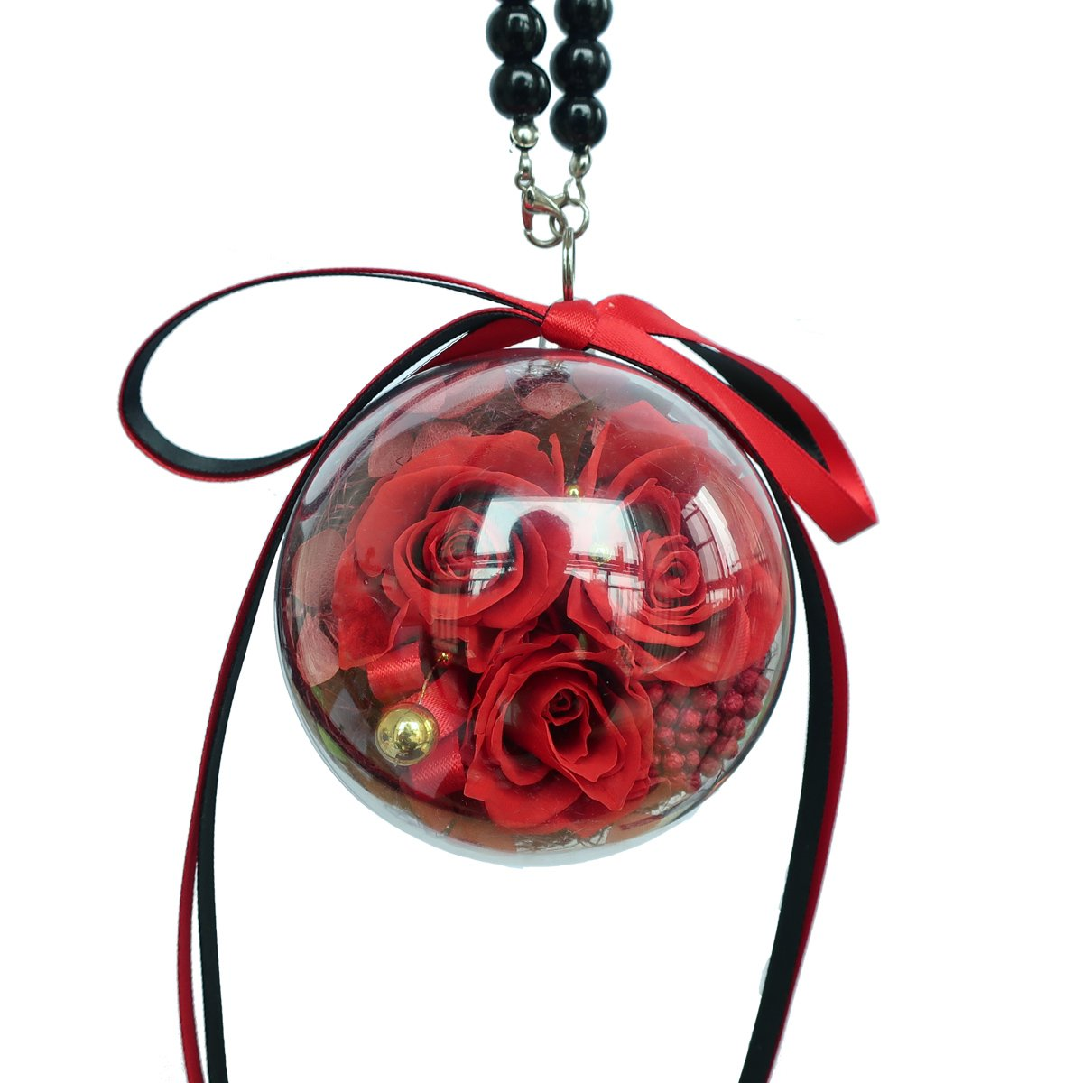wishing rose Three red Preserved Real Roses in a Circular Acrylic Ball,with a Bead Necklace.which can be Used as a car Pendant, Wall Decoration, Decor Woman's Handbag. is a for Her, Sister, Girls, A