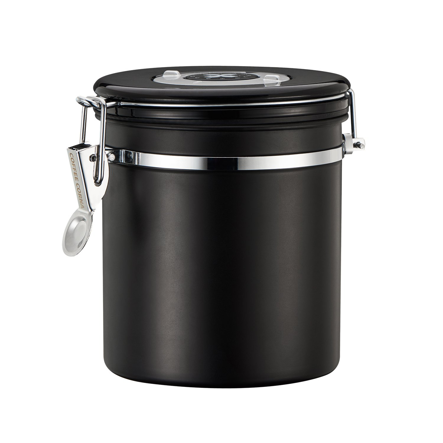 Coffee Canister with 30 ml Scoop- Airtight Container Airtight Lid - Stainless Steel Food Storage Canister - Built-in One Way Valve Blocks CO2 From Ruining Coffee Flavor - Built-in Freshness Calendar