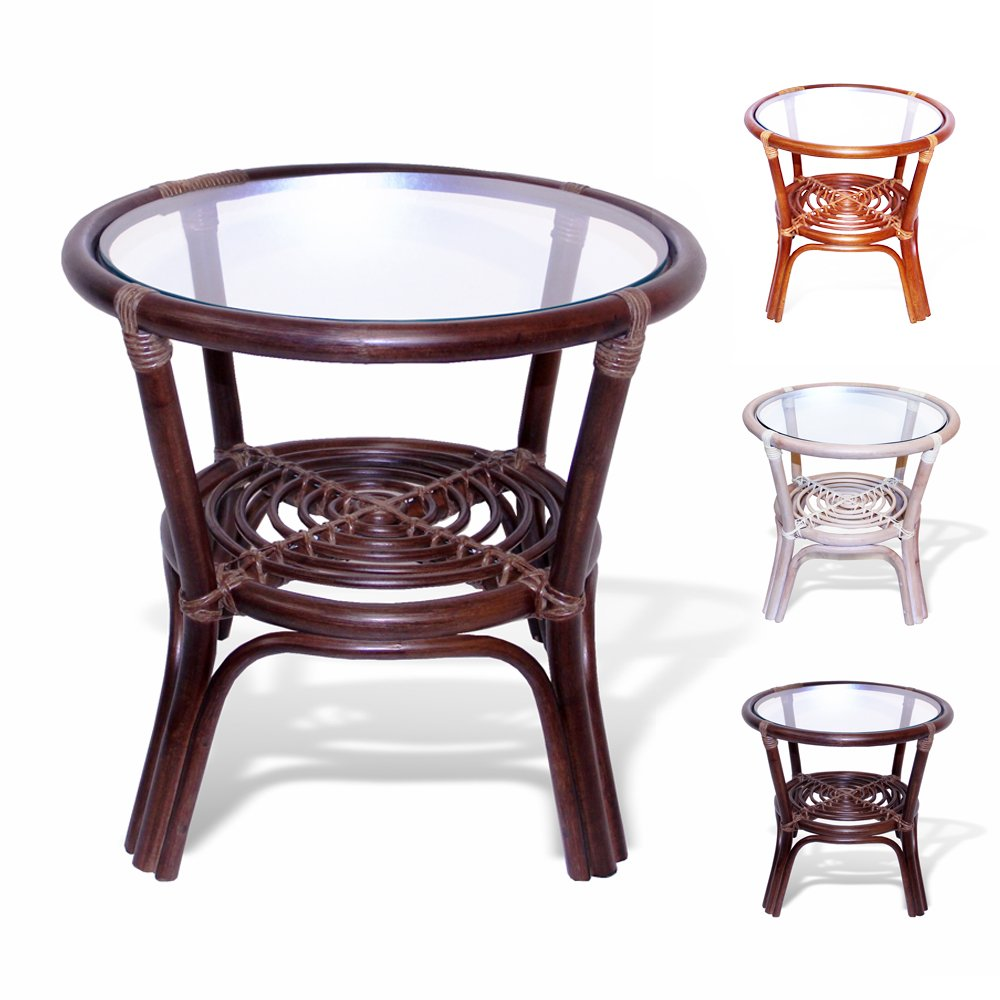 Amazon.com: Rattan Wicker Round Accent End Table With Glass (Dark Brown):  Kitchen U0026 Dining