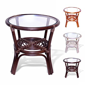 Rattan Wicker Round Accent End Table With Glass (Dark Brown)