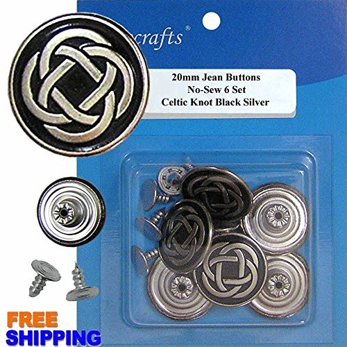 20mm No-Sew Celtic Knot Black Silver 6 Jean Tack Buttons w/Tool