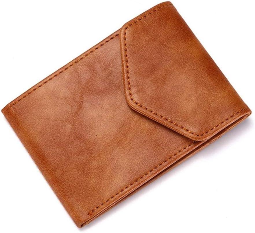 Weichunya Titular de la tarjeta carpeta del cuero genuino de tarjeta monedero de cuero del caso de tarjeta de crédito RFID Bolsas creativo de los hombres de negocios Monederos Tarjetas hombres de caba