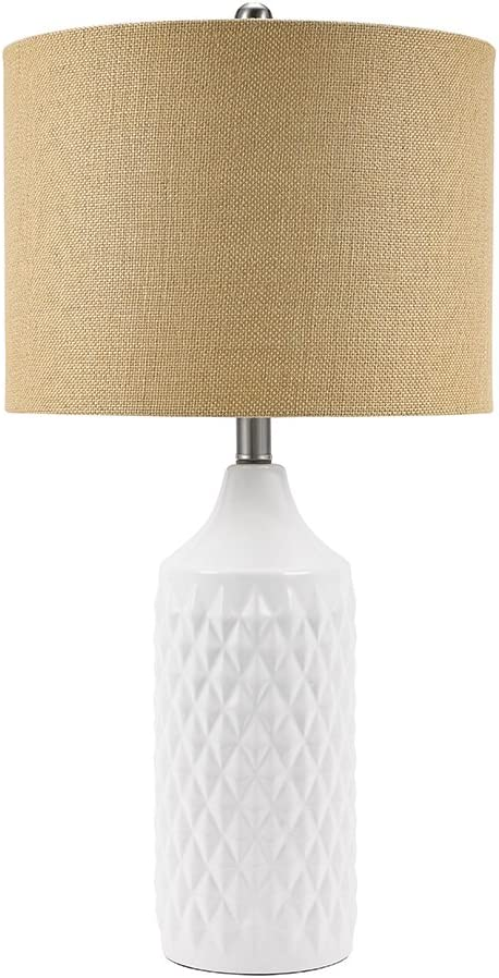 "Catalina Lighting 19970-001 Modern Ceramic Table Lamp with Burlap Shade for Living, Family, Bedroom, Dorm Room, Office, 26.5"", Classic White"