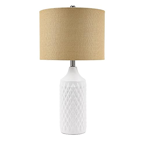 Catalina Lighting 19970-001 Modern Ceramic Table Lamp with Burlap Shade for Living, Family, Bedroom, Dorm Room, Office, 26.5 , Classic White